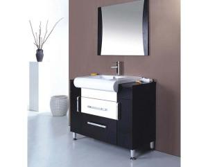 Black distressed bathroom vanity