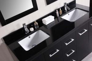 Black lacquer bathroom vanity