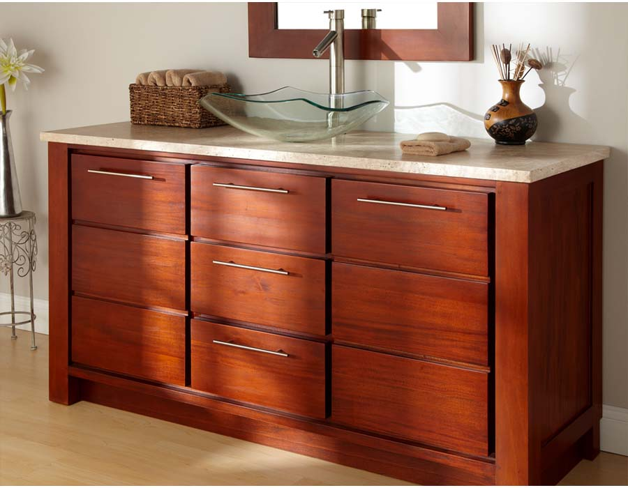 Cherry wood bathroom vanities