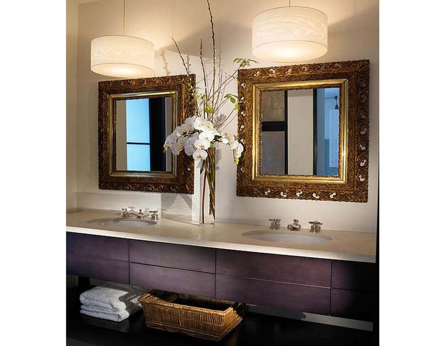 Contemporary bathroom double vanities