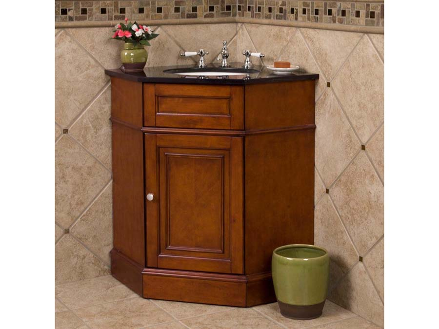 Corner bathroom sink vanity units