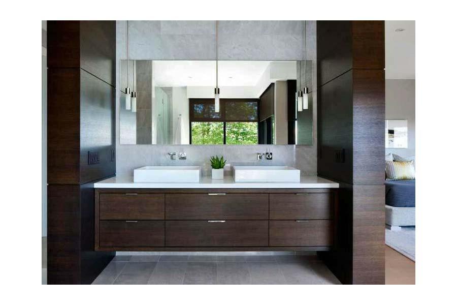 Floating wood bathroom vanity