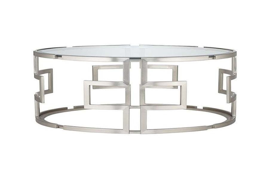 Geometric silver glass coffee table