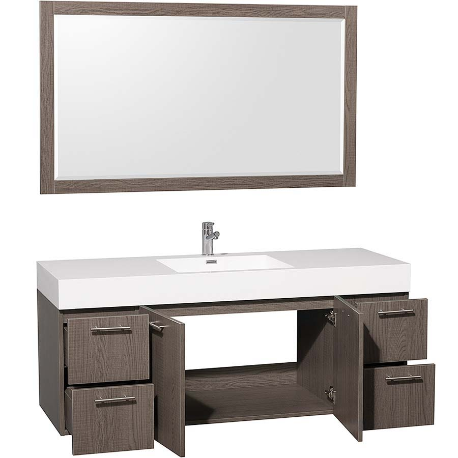 Grey oak bathroom vanity