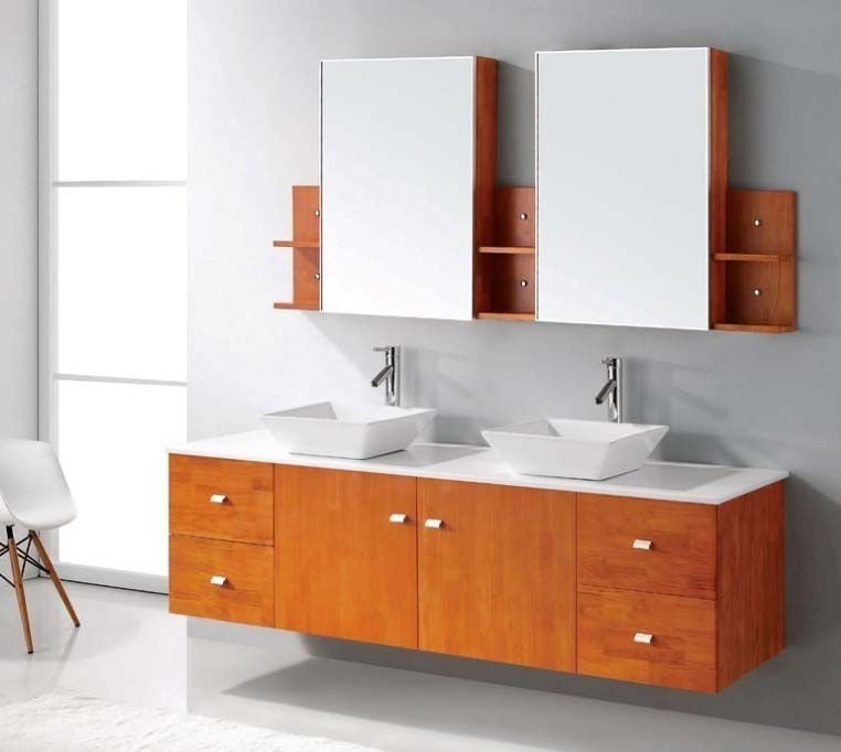 Honey oak bathroom vanity