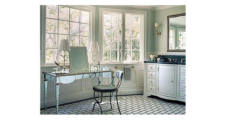 Mirrored bathroom vanity lights