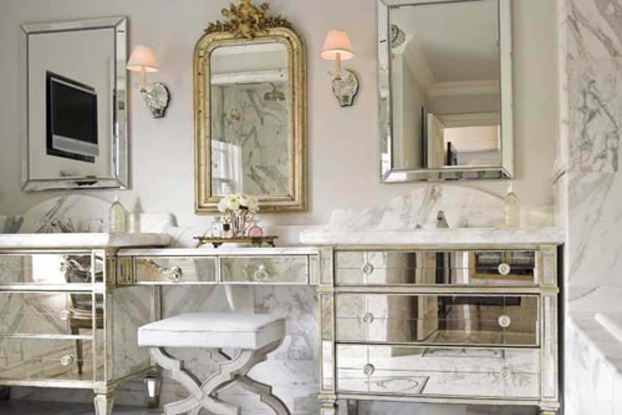 Mirrored bathroom vanity units
