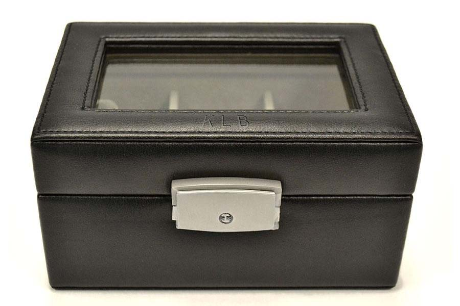 Personalized leather watch box