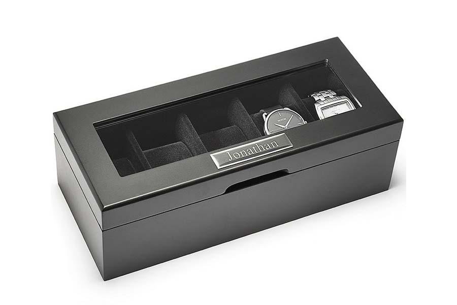 Personalized monogram leather watch box