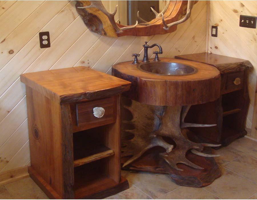 Rustic wood bathroom vanities2
