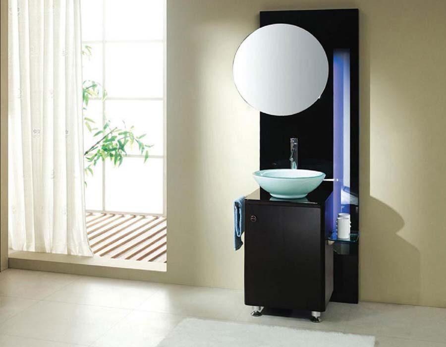 Small black bathroom vanity