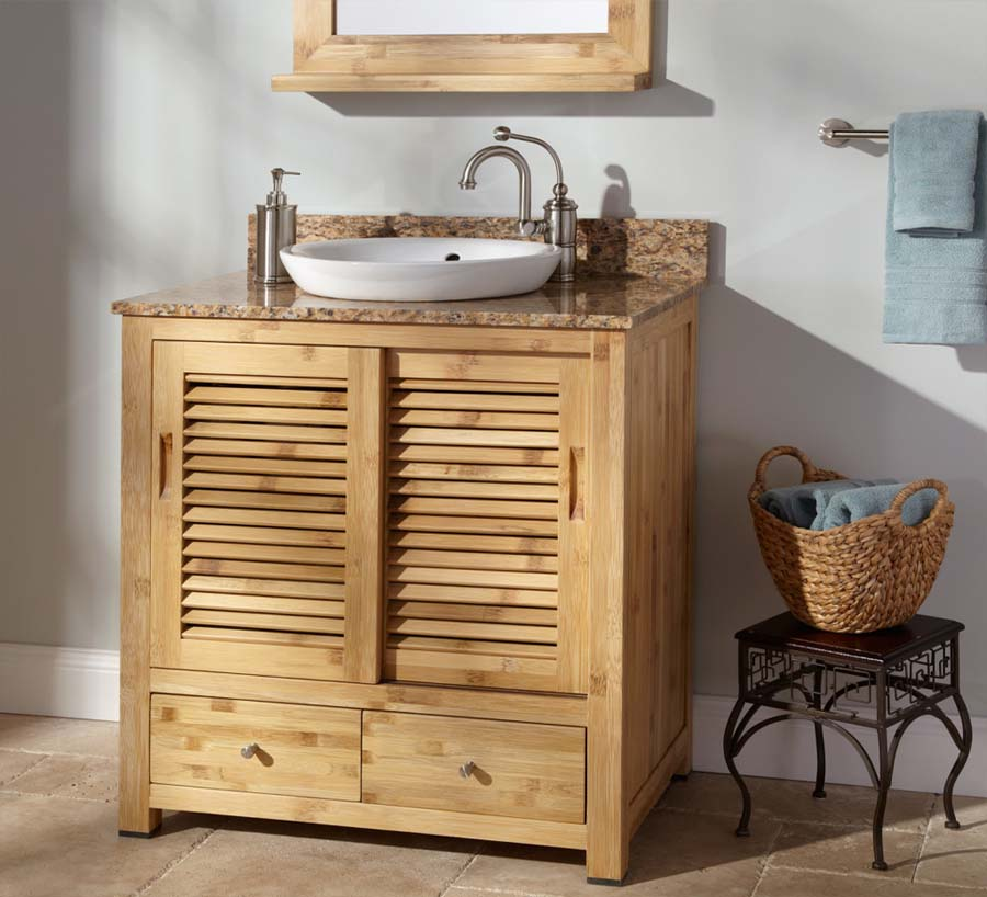 Solid oak bathroom vanity