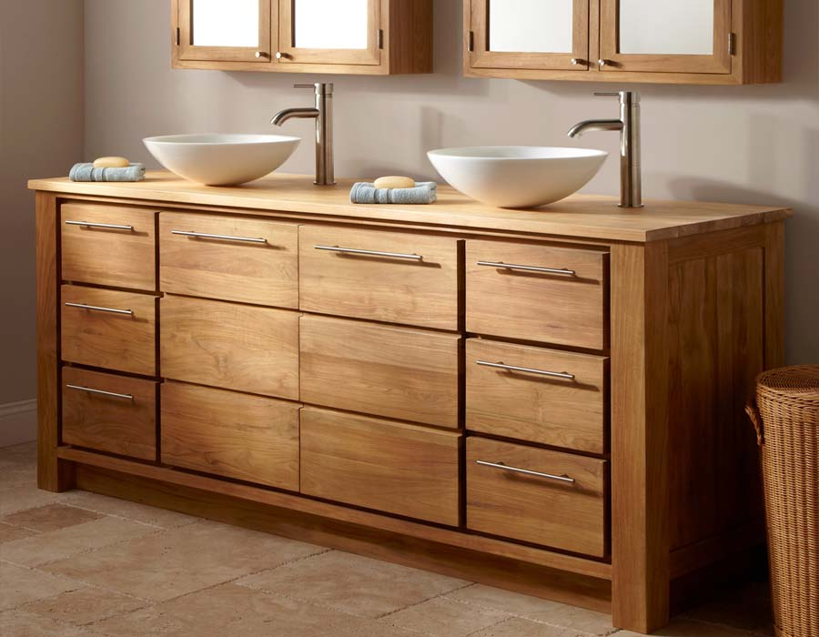 Solid wood double sink bathroom vanity