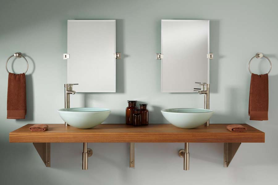 Teak wall mounted bathroom vanity