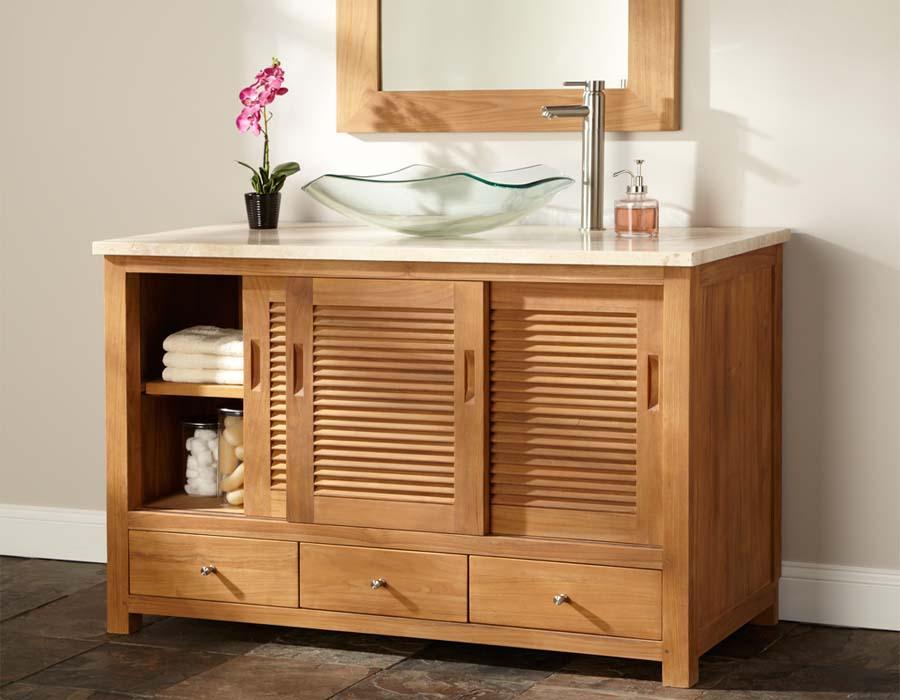 Teak wood bathroom vanities
