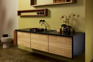 Wall mounted bathroom vanity set