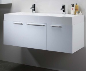 White bathroom vanities with drawers