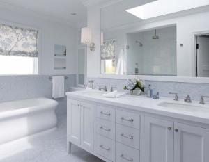 White bathroom vanity mirror