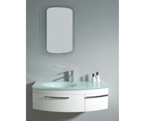 White gloss bathroom vanity unit