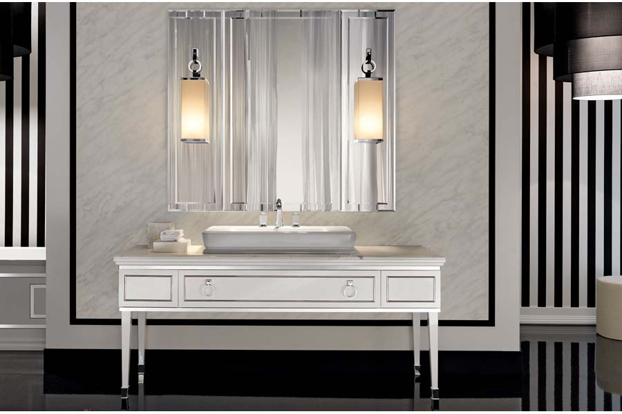 White wood bathroom vanities