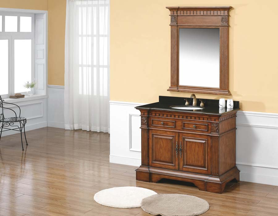 Wood framed bathroom vanity mirrors
