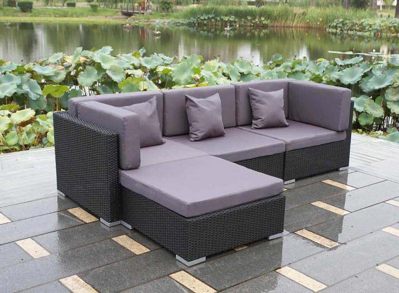 Black Rattan Corner Garden Furniture