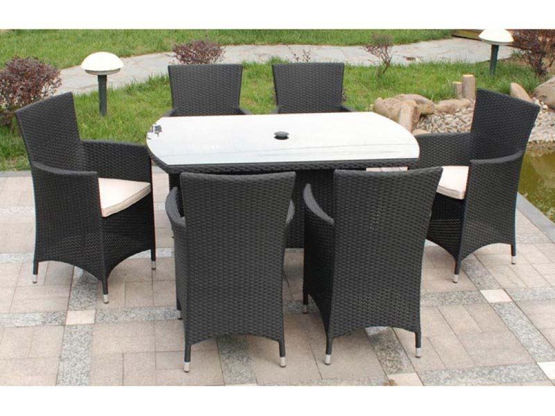 Cannes Rattan Garden Furniture 6 Seater
