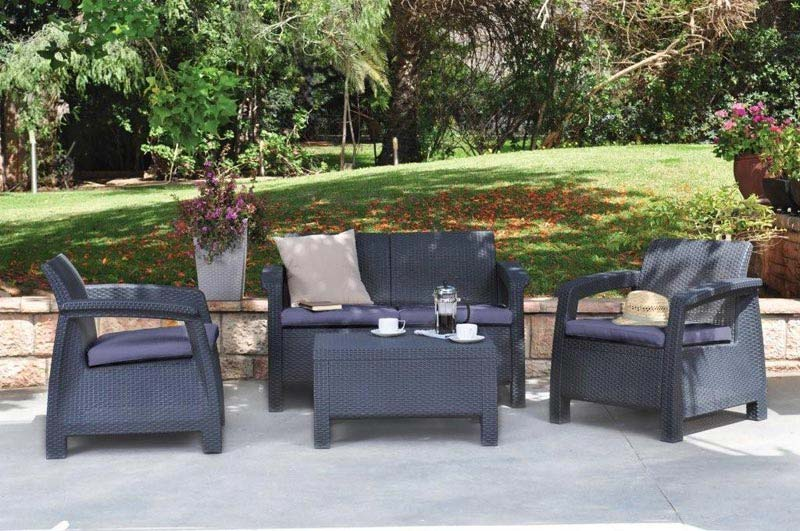 Keter Corfu Rattan Garden Furniture Set Sand