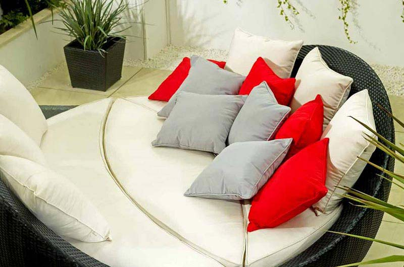 Rattan Garden Furniture Red Cushions