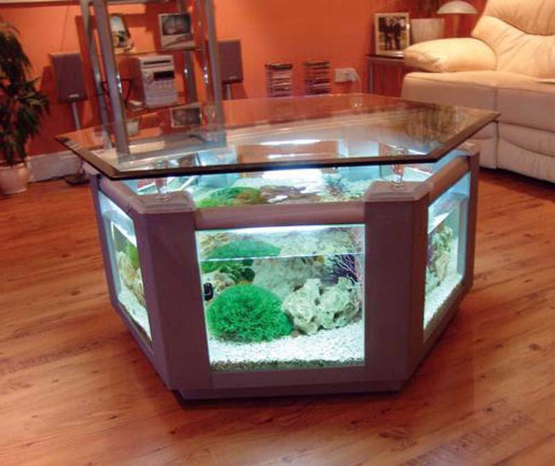 Round Fish Tank Coffee Table