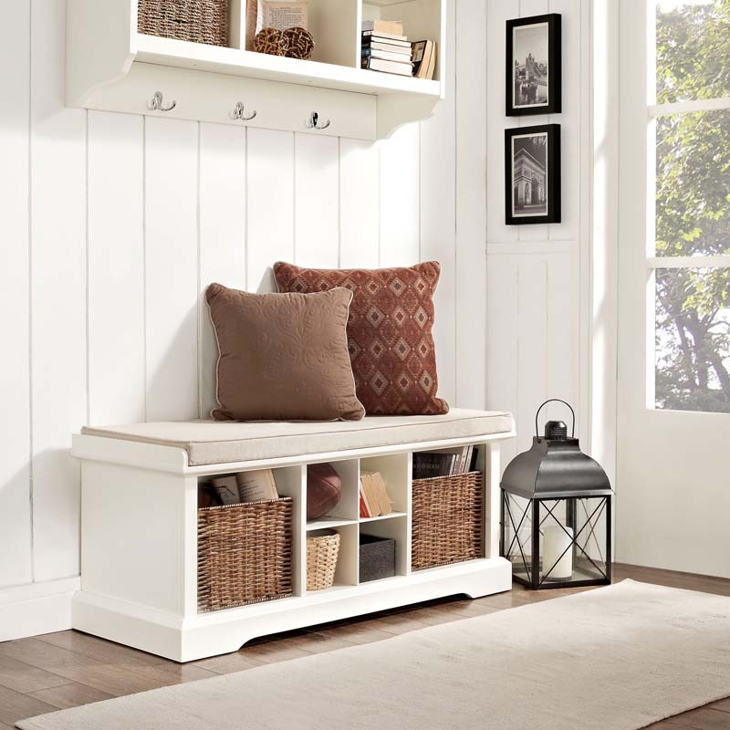 entryway bench with storage white
