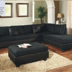 : Contemporary Black Microfiber 4 Pieces Sectional Sofa Right Chaise