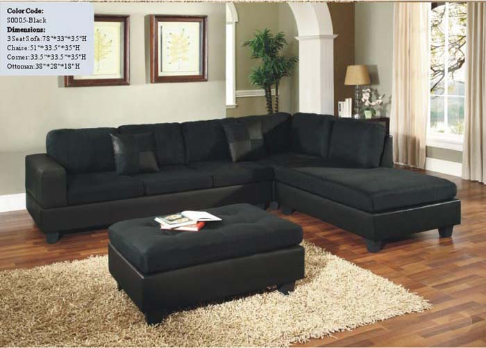 Contemporary Black Microfiber 4 Pieces Sectional Sofa Right Chaise
