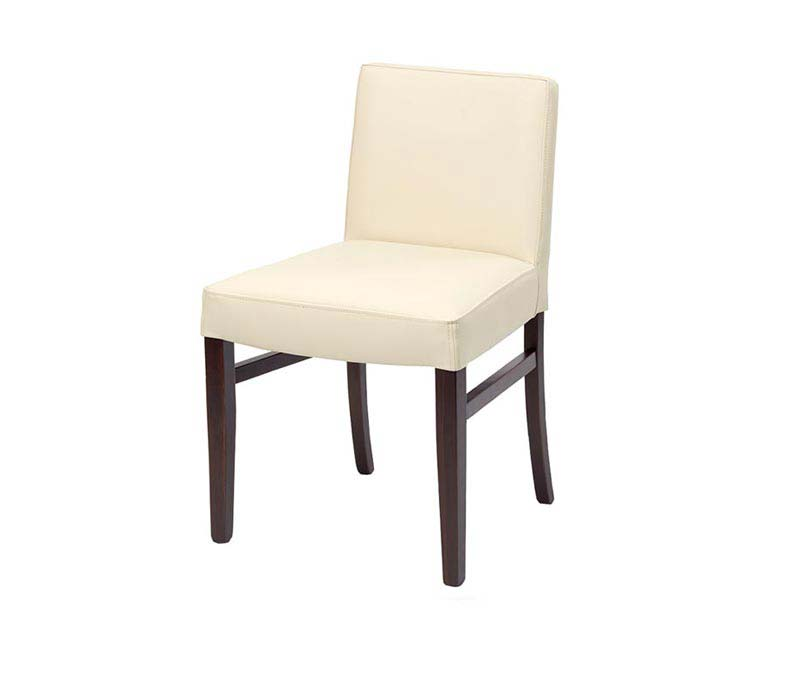 Cream Leather Low Back Dining Chairs