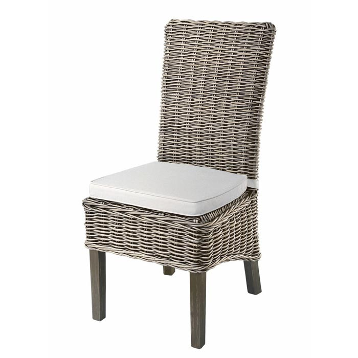 Gray Rattan Dining Chairs
