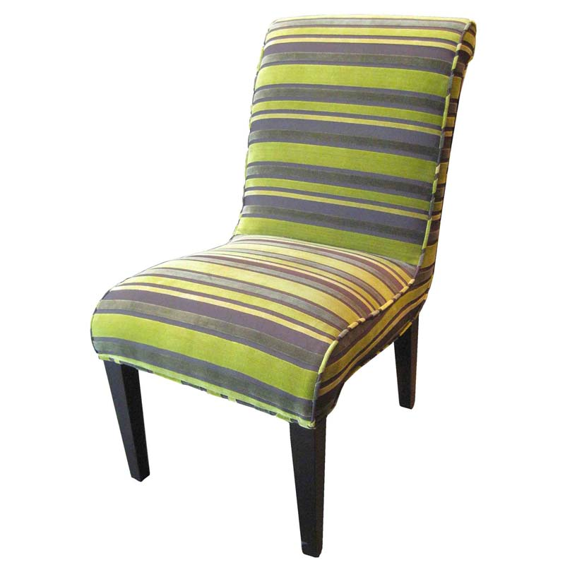 Green Striped Dining Chairs
