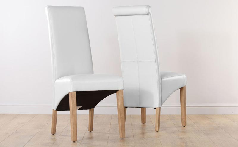 Oak Dining Table White Leather Chairs