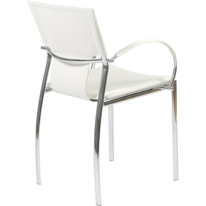 White Bonded Leather Dining Chairs