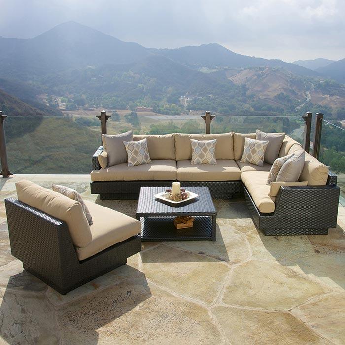 Portofino Comfort 6 Piece Modular Sofa Sectional Set In Espresso