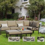: Sandhill 7 Piece Outdoor Sofa Sectional Set Seats 5