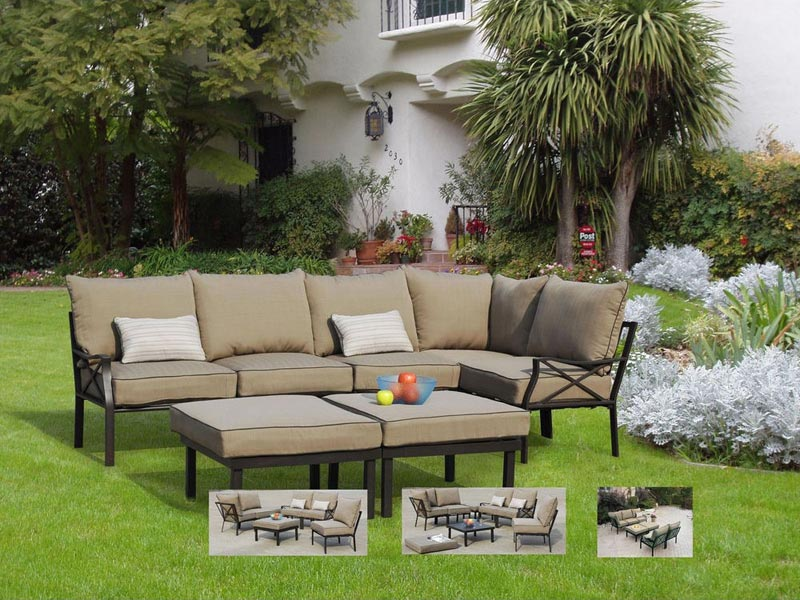 Sandhill 7 Piece Outdoor Sofa Sectional Set Seats 5
