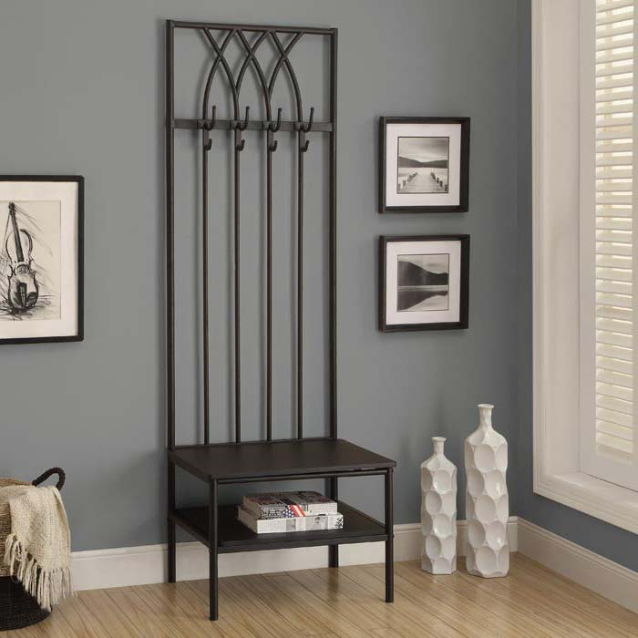 Sei Black Metal Entryway Storage Bench With Coat Rack