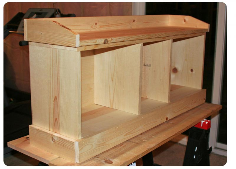 how to build a bench seat with shoe rack