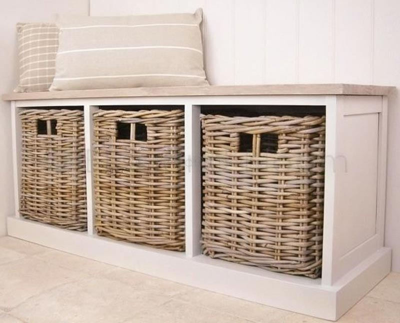 hall storage bench with baskets uk