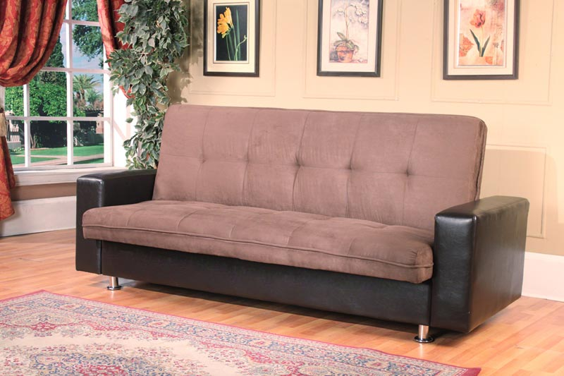 Kent 3 Seater Futon Sofa Bed In Faux Leather Black