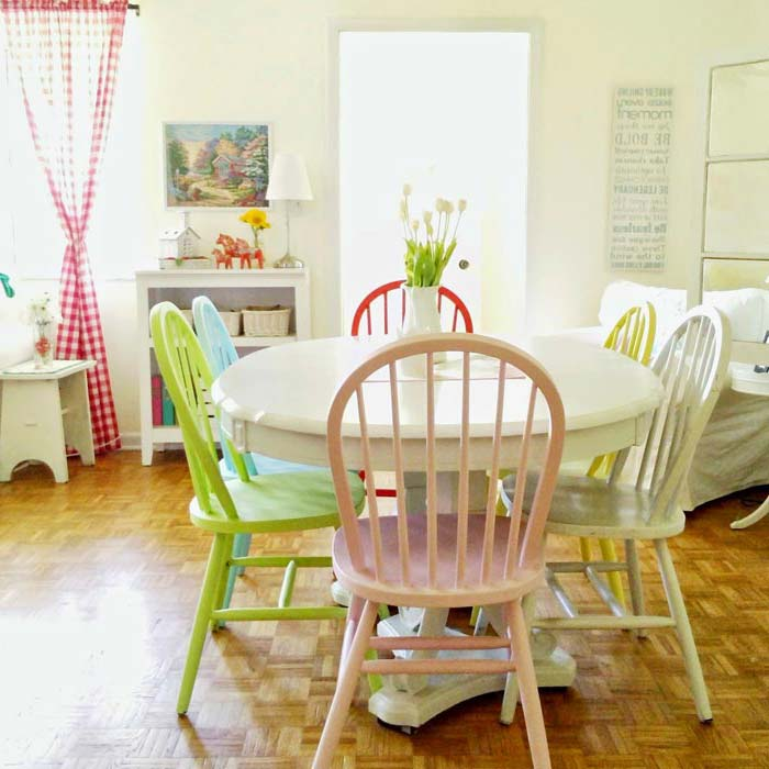 pastel coloured dining chairs