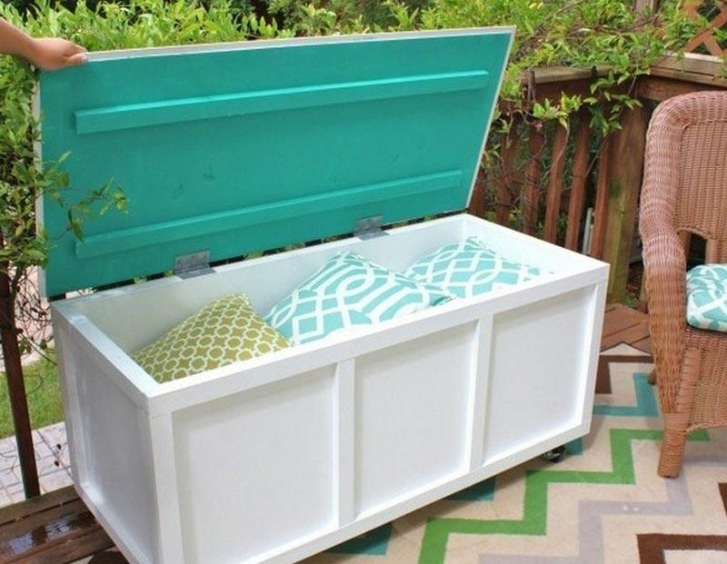 plastic garden storage bench box