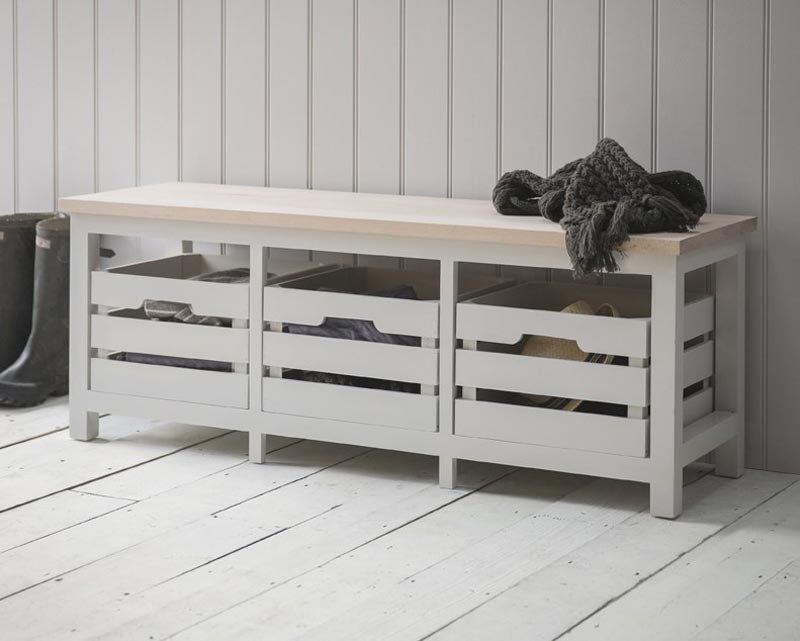 wooden storage bench seat indoors furniture
