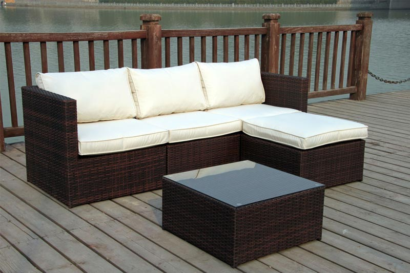3 seater rattan garden sofa