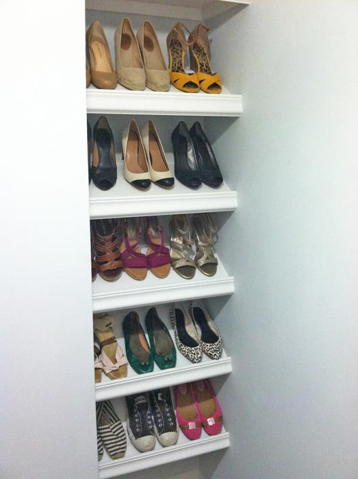 angled shelving for shoes